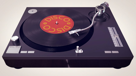 3d illustration of a vinyl player plays vinyl disc in cartoon style. dj concept icon. Stock Photo