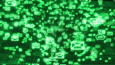 An advanced 3d rendering of flying in some order green emails, at signs, and three dot symbols, keeping the global communication. They move in the black background with a network. 写真素材