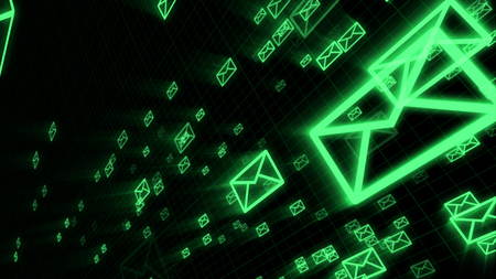 An impressive 3d illustration of flying green electronic mail envelops maintaining the world communication process. They are in the black background placed askew. 写真素材