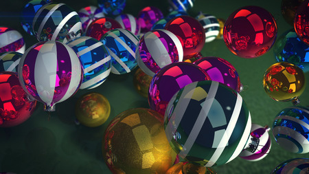 A cheerful 3d illustration of gleaming glass balls for a Christmas fir tree. They lie on a green floor and look splendid. They are multicolored, striped, and shimmering. New Year is going on!