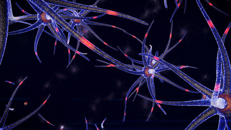 An enigmatic 3d rendering ofa calamary looking being of a blue color through which tenaculars red neuron stimuli move in different directions. The neuron beings are in the black background Stock Photo