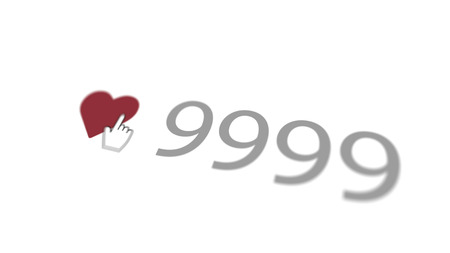An affectionate 3d rendering of a love you sign where a finger presses a purple heart with 9999 numbers placed nearby in the white background turned aslant. It looks lovely and divine.