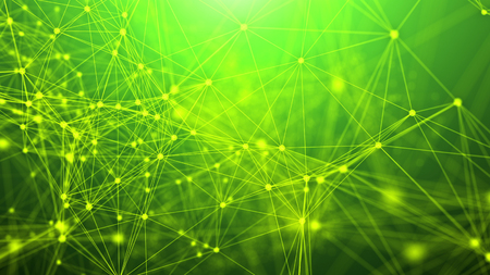 A puzzled 3d rendering of a plexus of abstract geometric triangles and dots making some futuristic liasion system. They are interlaced with each other in the light green background. Stock Photo