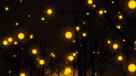 An amazing 3d illustration of yellow lights in an autumn forest with a lot of bare trees with wicked branches. They look mysterious and magic in the black background.