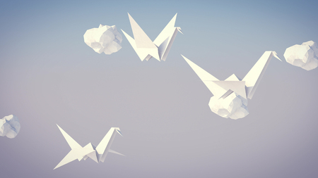 An amazing 3d rendering of a flock of white paper cranes soaring high in the grey background among white paper clouds. They remind us about our happy childhood and youth.   Stock Photo