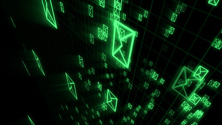 An advanced 3d illustration of dashing electronic mail envelops supporting the world communication process. They are in the black background placed aslant. 写真素材