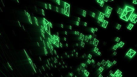 An astonishing 3d rendering of fast moving electronic mail envelops keeping on the world communication process. They are in the black background placed askew.