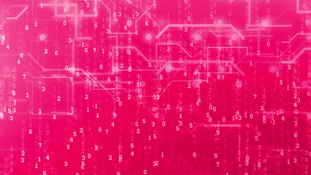 A female 3d illustration of a digital multilayered cyberspace. The Matrix style numbers are dashing among wavy routes and curvy lines in the bright pink background. They look amazing.