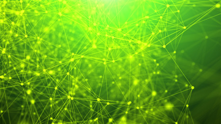 An impressive 3d rendering of a network from abstract geometric triangles composing some futuristic communication system. They are placed in the light green background.
