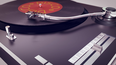 A retro 3d rendering of a vinyl disc gramophone standing on a white surface. Stylus is touching the black vintage disc. There is an inscription disco. It has stainless steel handles and buttons