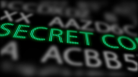A stunning 3d illustration of a secret code on a computer screen of a green color among grey letters, numbers and sentences. The black background is put askew.