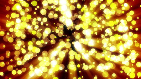A fantasy style 3d rendering of festive yellow lights covering the whole area in the blurred presentation. They look like sparkles of some powerful fireworks deep at night. Stock Photo