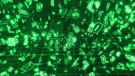 A cyberspace 3d rendering of swirling in disorder green emails, at signs, and three dot symbols, maintaining the world communication. They fly in the black background with a grid.