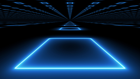 A futuristic 3d illustration of a hypersonic underocean tunnel serving as a metro connecting one continent with another. The lines of blue illuminators light up the black tunnel.