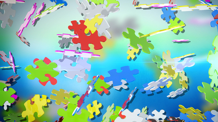 A dazzling 3d rendering of multicolored puzzles swirling in the light green and light blue air. They are spinning in various direstions and have different shapes and colors. They look jolly.