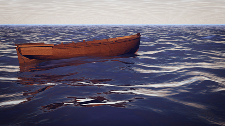 An artistic 3d illustration of an empty wooden boat in a stormy sea. The dark blue waves and light blue and grey sky looks scareful and dramatic. The sailors on the boat just disappeared.