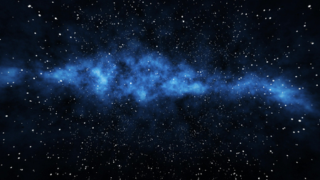 A multilayered 3d rendering of a milky-way nebula full of far away stars and planets in the gigantic universe expanding as a result of the big bang in the black background