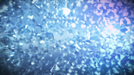 An impressive 3d image of a huge number of multicarat diamonds shining with white and blue sparkles. They fly together and attract us with their luxurious beauty and crazy prices.