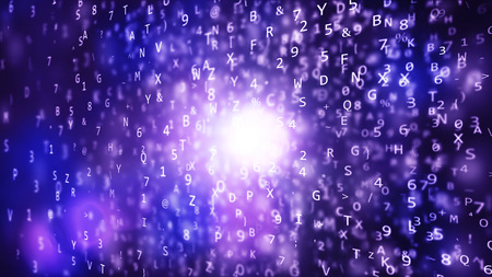 A mysterious 3d illustration of cube shaped texts with blurred letters and numbers put randomly in the dark blue background. The blurred plasma spot shines inside.