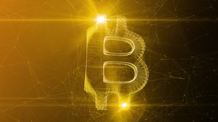 A gorgeous 3d illustration of a beautiful bitcoin sign turned slightly aside. It sways in the center of a golden and brown cyberspace with narrow internet connections. Banco de Imagens - 96933198