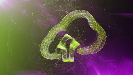 A visionary art 3d illustration of a crystal cloud software sign turning slowly aside. It is placed in the center of a violet and green cyberspace with sparkling lines.