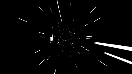 A volumetric 3d illustration of tunnel motion effects produced with narrow white lamps and arrows moving ahead. There is an illusion of a flying sci-fi spacecraft.
