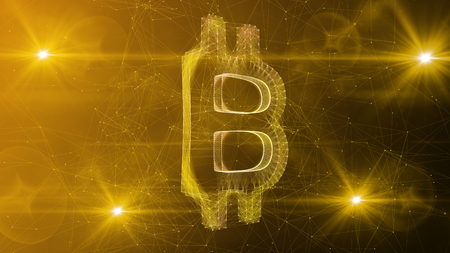 An astonishing 3d illustration of a crystal bitcoin symbol turned slightly aside. It is located in the center of a white and khaki cyberspace with bright nodes in the corners. Stock Photo