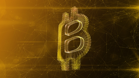 A glorious 3d illustration of a crystal bitcoin sign turned slightly aside. It is placed in the center of a white and khaki cyberspace with bright thin internet connections. Banco de Imagens
