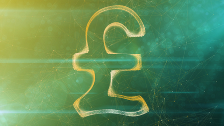 A splendid 3d illustration of a sparkling crystal pound sign placed in the center of a khaki and green cyberspace with narrow internet connections. It looks like Number 1.