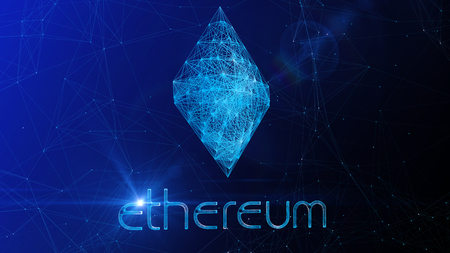 A brilliant 3d illustration of a beautiful Ethereum sign swaying slowly aside. It is placed in the center of a blue cyberspace with sparkling internet connections.