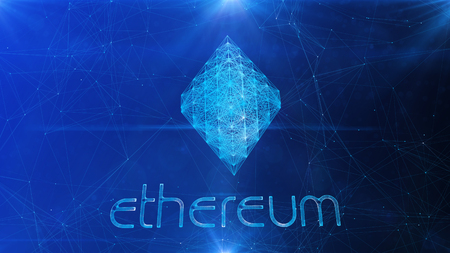 A dazzling 3d illustration of an arty Ethereum sign whirling slowly aside. It is placed in the center of a blue cyberspace with sparkling rays on the fringe and corners