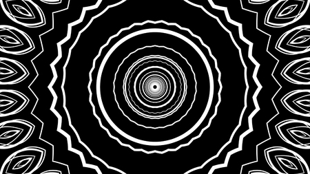 A neo-geo 3d illustration of tunnel motion effects made of whirling white crisscross circles in the black background.  There is an illusion of a time portal.