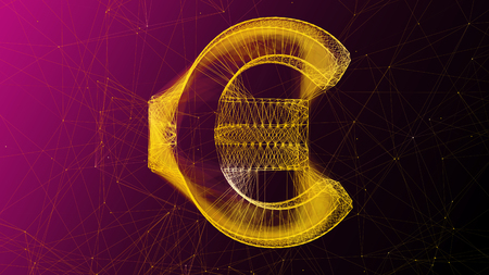 An op art 3d illustration of a shining and golden looking euro sign placed in the center of a violet and pink cyberspace with narrow internet connections. It is made of wispy ladder.