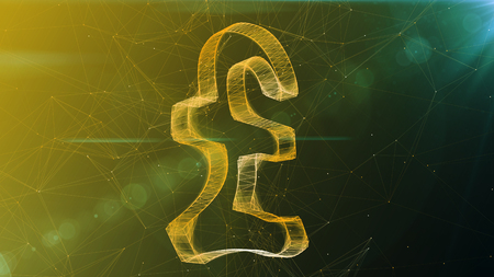 A wonderful 3d illustration of a beaming crystal pound sign spinning aside. It is located in the center of a khaki and green cyberspace with thin internet connections. Stock Photo