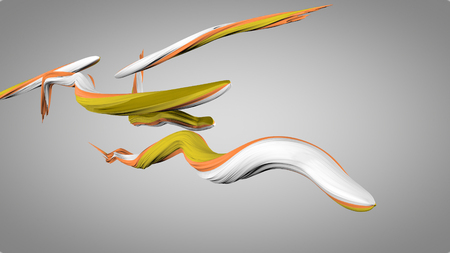 An arty 3d illustration of wriggling colorful strokes in the grey background. They are of white, orange and green colors. They interwine like snakes with each other.