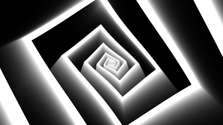 An optical art 3d illustration of tunnel motion effects produced with turning white labyrinth forms. There is an illusion of a flying hi-tech spaceship.
