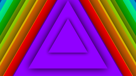 A graphic 3d illustration of colorful rainbow triangles inserted in each other. They are of violet, green, red and light blue colors. They impress with their intense colors and exact forms.