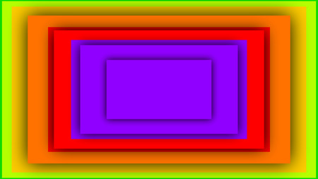 An optical art 3d illustration of colorful rectangles inserted in each other. They produce the enigmatic moving tunnel effect. They are of violet, green, red and yellow colors. Stock Photo