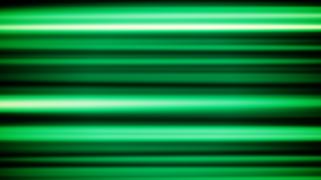 A volumetric 3d rendering of horizontal green and white lines shining joyfully in the black background in a defocused variant. The sparkling tubes spin around cheery.