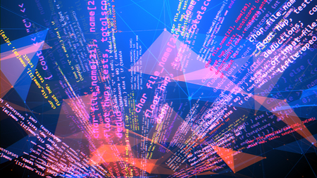 A futuristic 3d rendering of a chaotic coding program rotating like a set of broken triangular red surfaces with pink and white formulas and words in the light blue backdrop.
