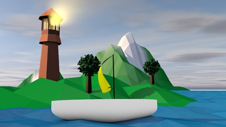 A cheerful 3d illustration of a high searchlight with a lit projector on a small green island and a white boat with yellow sail. There is a snowy peak, green grass and trees.