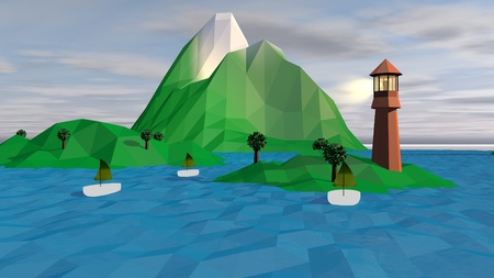A dreamlike 3d illustration of a high brown tower with a lit spotlight on a small green island with a snowy peak, exotic palms and three white boats with khaki sails.