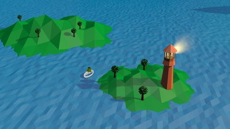 A funny 3d illustration of a high brown tower with a search spot installed on a tiny green island with three trees in summer. Blue lowpoly waves wash the land cheerfully.