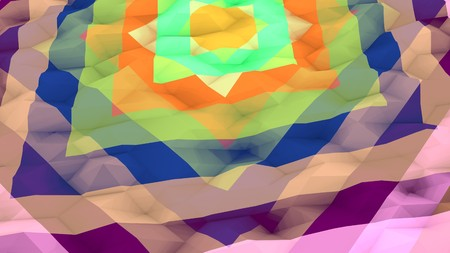 An arty 3d illustration of a multicolored lowpoly background with a set of different size squares. A round yellow dot is placed in the center of an eight-pointed structure from two objects. Banco de Imagens