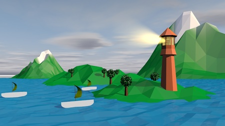 A lowpoly 3d illustration of three white boats with khaki sails anchored at several rocky islets with palms, grass and a brown lighthouse in a gloomy and grey weather.