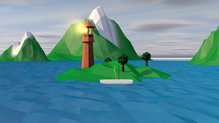 An optimistic 3d illustration of a high brown tower with a lit spotlight on a small green island and a sailing white boat near it. Several hilly islets in blue waves are in the backdrop.