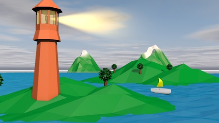 A cheery 3d illustration of a brown searchlight with a lit projector and several small islands and a white boat with yellow sail in the evening. There is a snowy peak, green grass and palms.