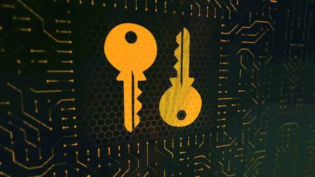 A graphic 3d illustration of a wallet sign circuit board with two golden keys placed oppositely in the square center in the black background with crisscross lines and hexagons.