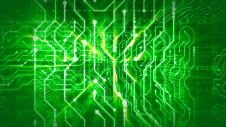 A cyberspace 3d rendering of a global circular board with puzzles from golden stripes, mazes of shimmering lines, curvy figures, sparkling cubes and balls in the green background.  Stock Photo