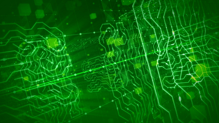 An ultramodern 3d illustration of a holographic circuit processor in the light green backdrop. It is stuffed with shining grids, flying big and small squares, spherical figures.  Stock Photo